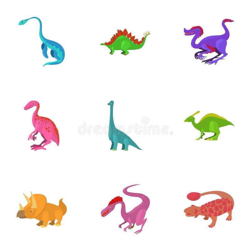 Olik typ av dinosauriesymbolsuppsättningen stock illustrationer
