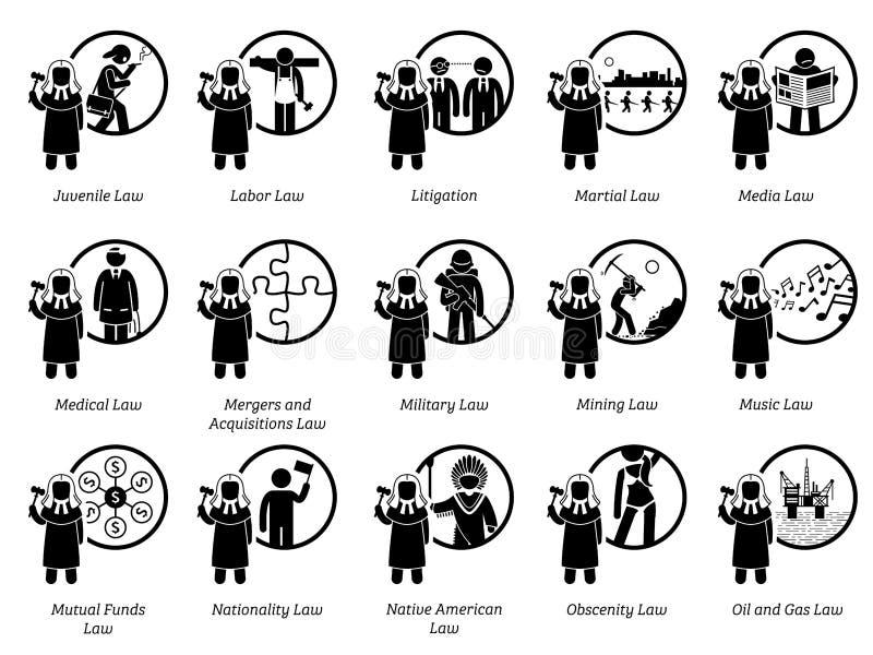 Olik typ av lagar Del 5 av 7 royaltyfri illustrationer