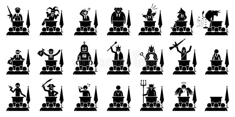 Olik typ av politikern, presidenten, premiärministern eller linjalen av ett land som ger anförandecliparts royaltyfri illustrationer