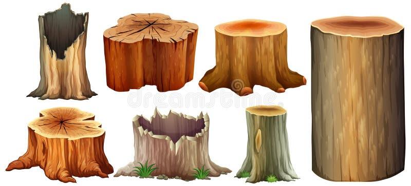 Olik typ av trädstubben vektor illustrationer
