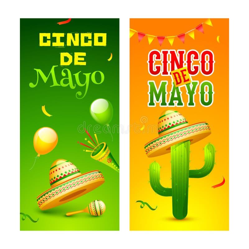 Olik typ två av kortdesignen på olik färgbakgrund med Cinco De Mayo royaltyfri illustrationer