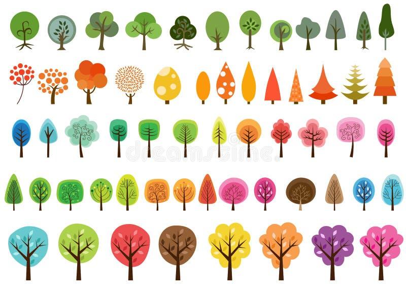 Olik uppsättning av vektorträd vektor illustrationer