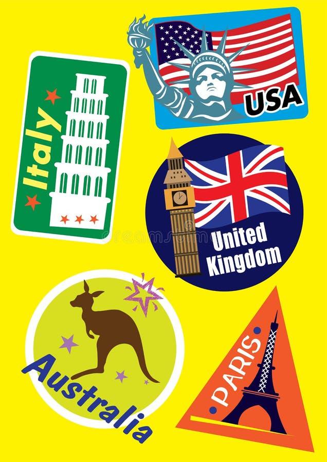 Olik uppsättning för landsloppsymbol royaltyfri illustrationer