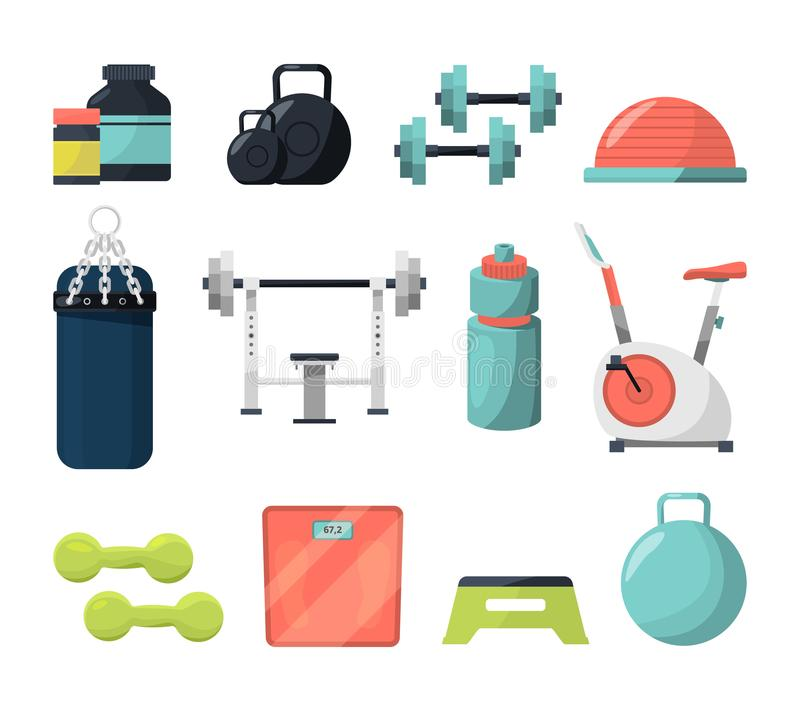 Olik utrustning för idrottshall Vikt, gymnastisk boll, hantlar och andra hjälpmedel för att powerlifting eller bodybuilding stock illustrationer