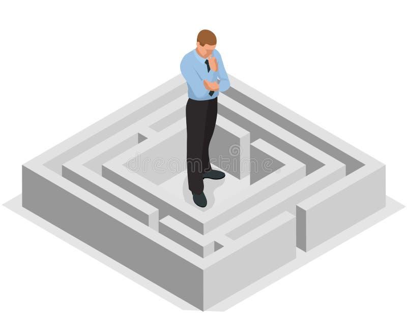 olik väg Lösning av problem Affärsman som finner lösningen av en labyrint äganderätt för home tangent för affärsidé som guld- ner royaltyfri illustrationer