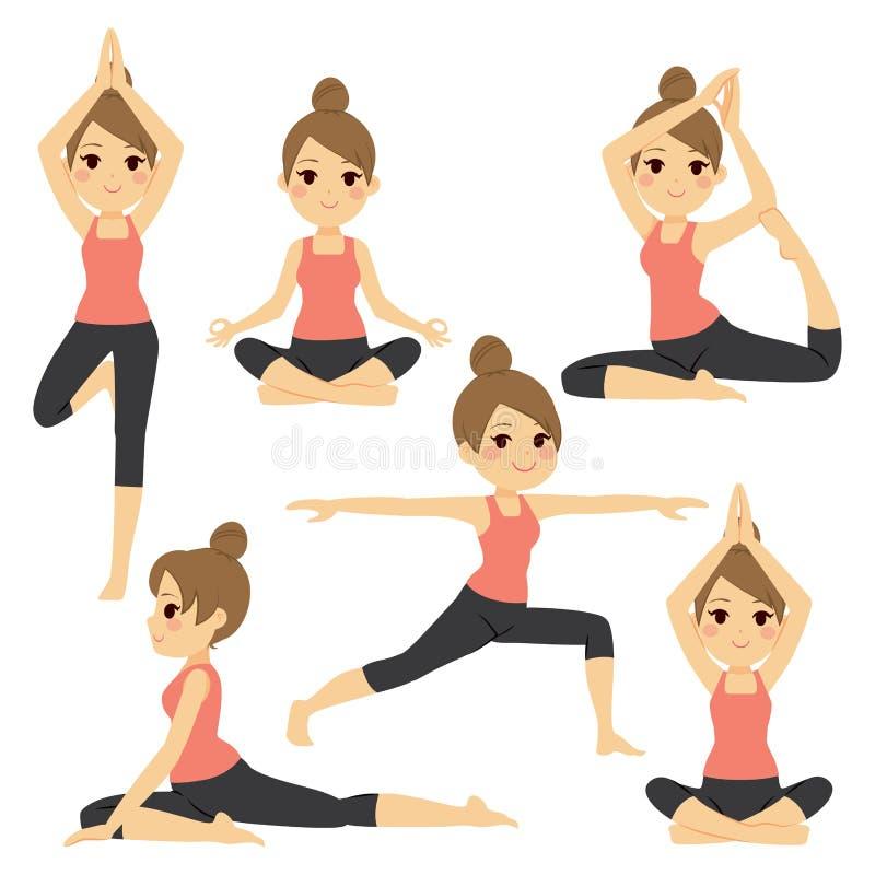 Olik yoga poserar kvinnan stock illustrationer