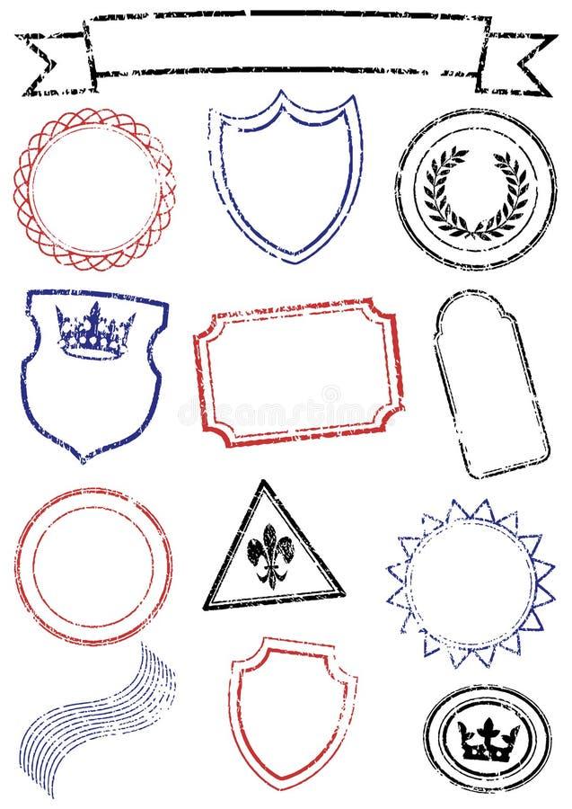 olika åtlöjesetstämplar up vektorn royaltyfri illustrationer