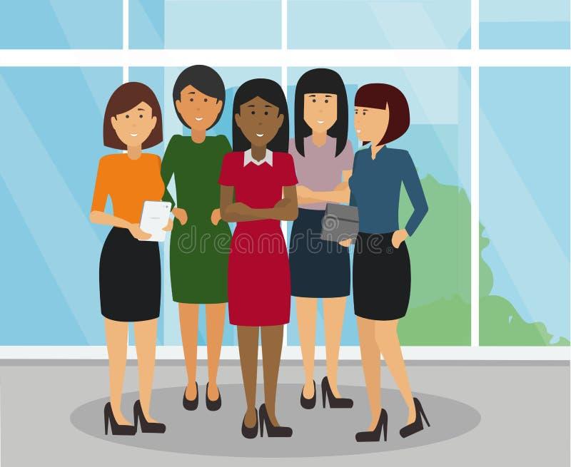 Olika affärskvinnor grupperar anseende och att le i kontoret stock illustrationer