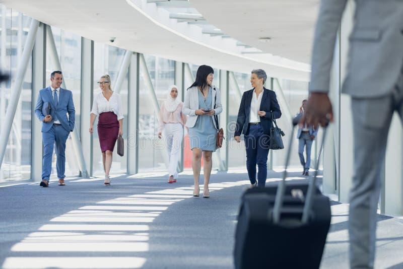 Olika affärskvinnor som påverkar varandra med de, medan gå i korridor royaltyfri foto