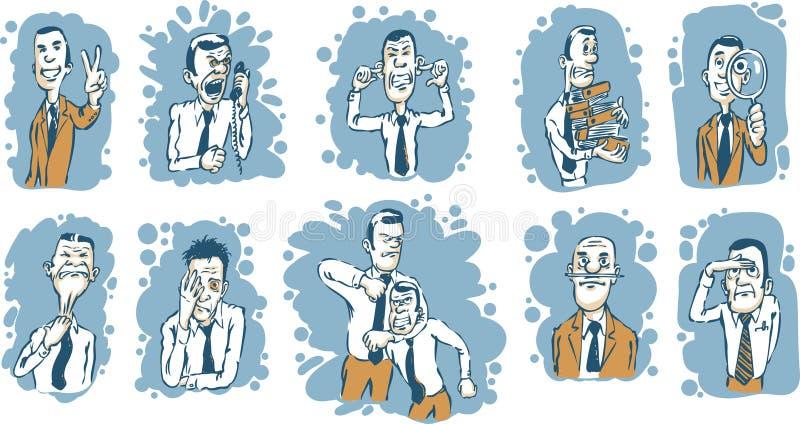 olika affärsmankarikatyrlägen royaltyfri illustrationer