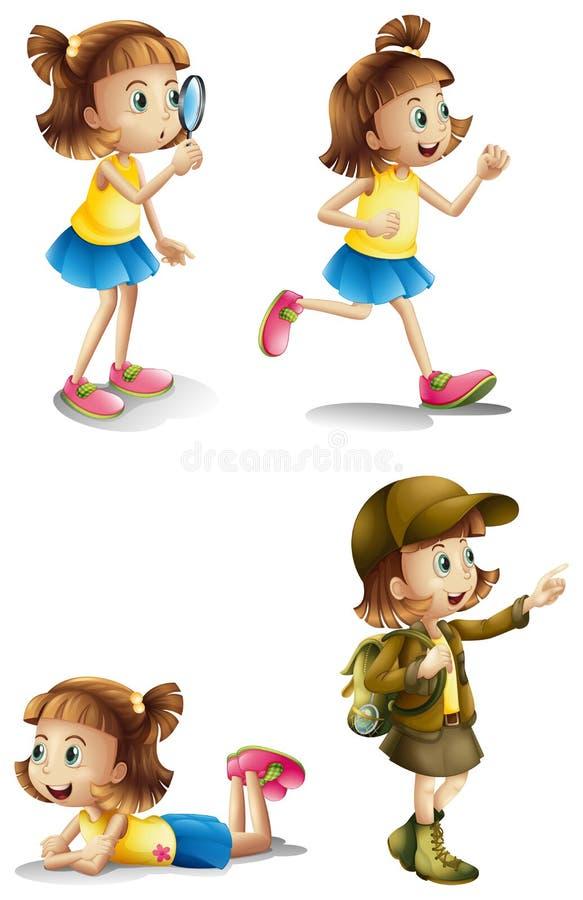 Olika aktiviteter av en ung flicka vektor illustrationer