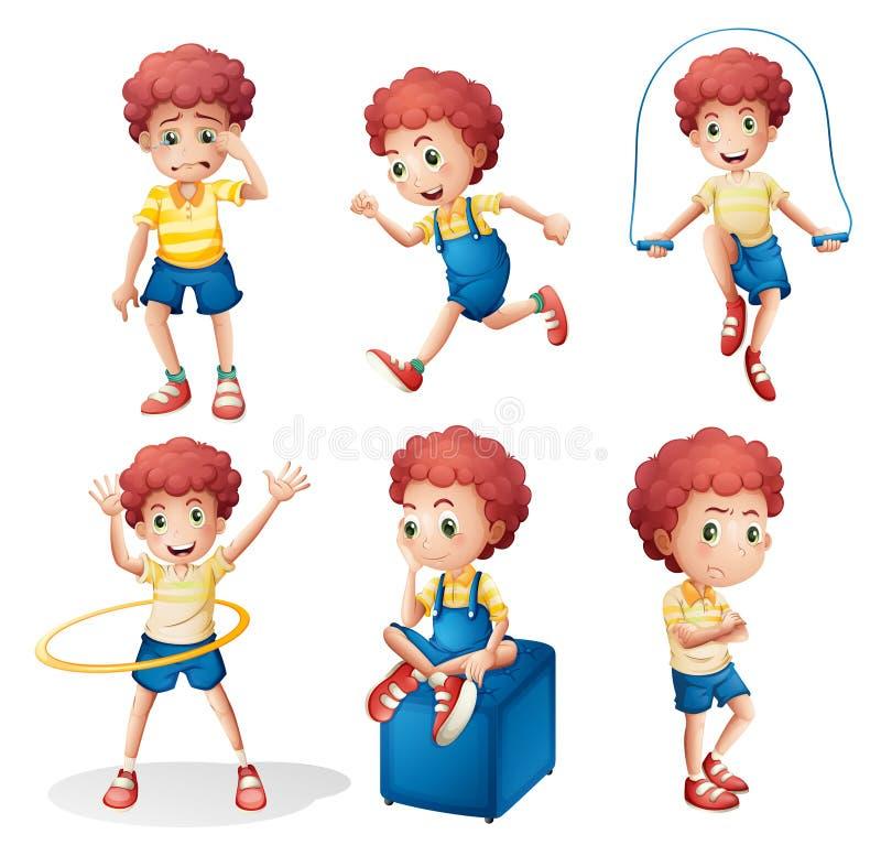 Olika aktiviteter av en ung man royaltyfri illustrationer