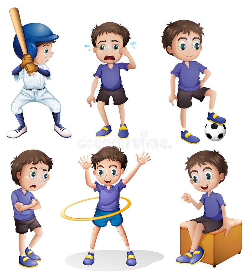 Olika aktiviteter av en ung pojke royaltyfri illustrationer
