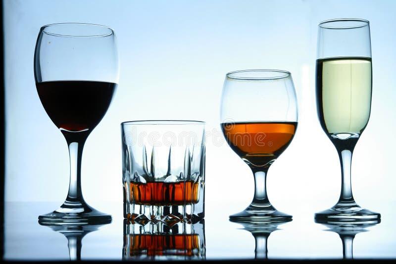 Olika alkoholdrycker i exponeringsglas och bägare arkivbild