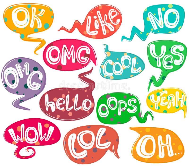 Olika anförandebubblor med ord och prickbakgrundstextur Hand dragen upps?ttning den olika fantasin bildar illustrationvektorn Vek vektor illustrationer