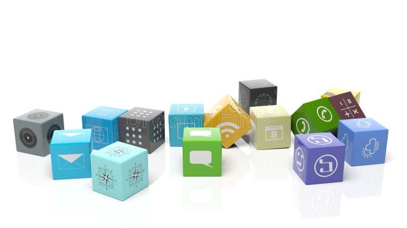 Olika apps i form av en kub stock illustrationer