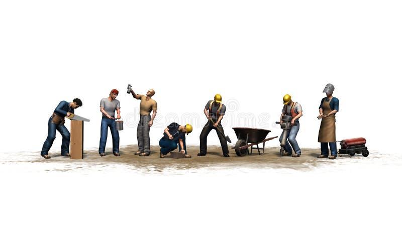 Olika arbetare med deras hjälpmedel - som isoleras på vit bakgrund stock illustrationer