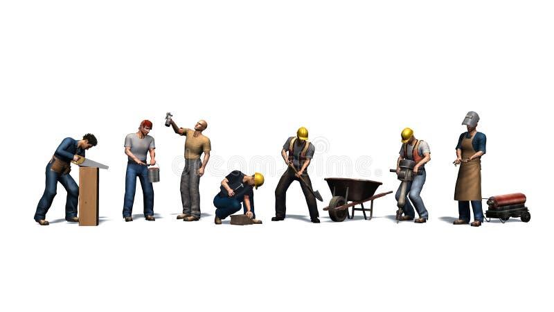 Olika arbetare med deras hjälpmedel - som isoleras på vit bakgrund vektor illustrationer