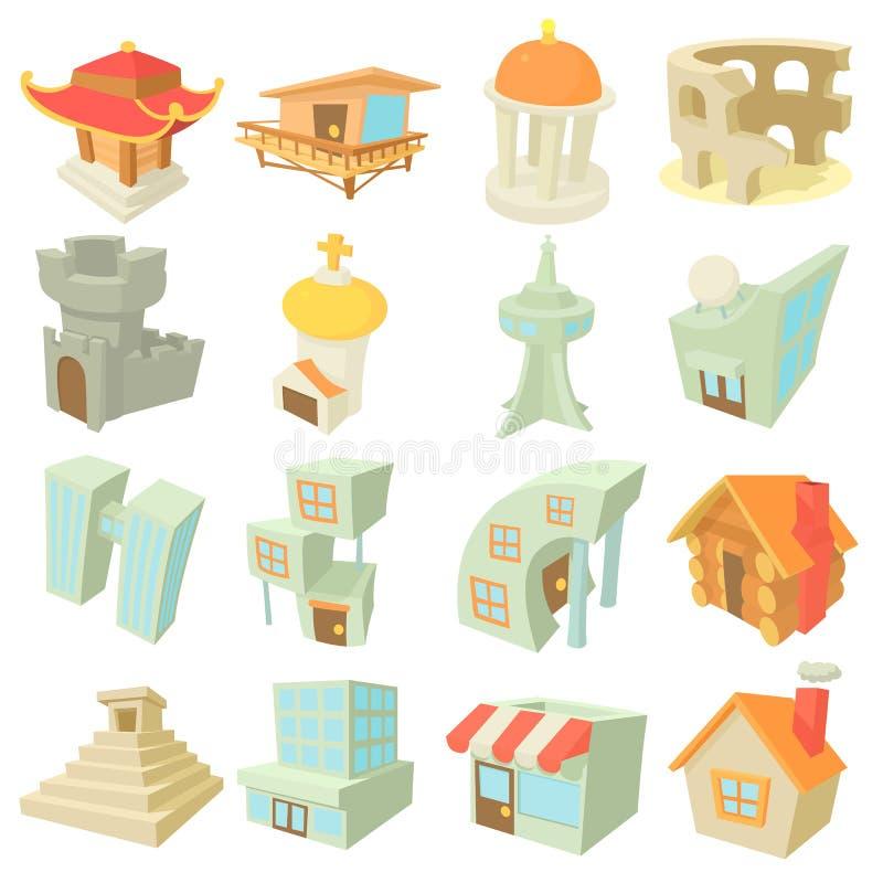 Olika arkitektursymboler uppsättning, tecknad filmstil royaltyfri illustrationer
