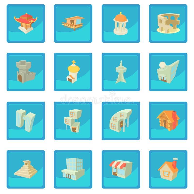 Olika arkitektursymbolsblått app vektor illustrationer