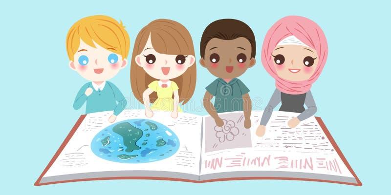 Olika barn för tecknad film royaltyfri illustrationer