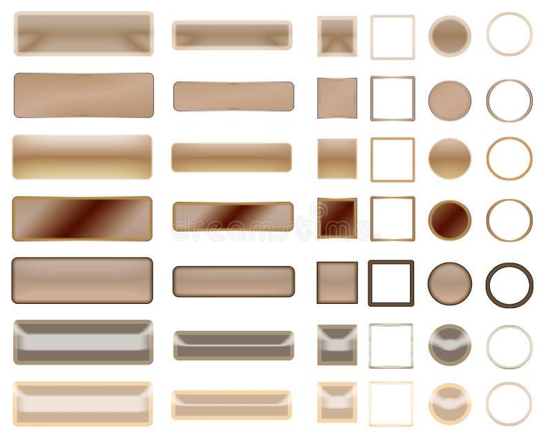 Olika beigea färger av knappar och symboler för rengöringsdukdesign royaltyfri bild
