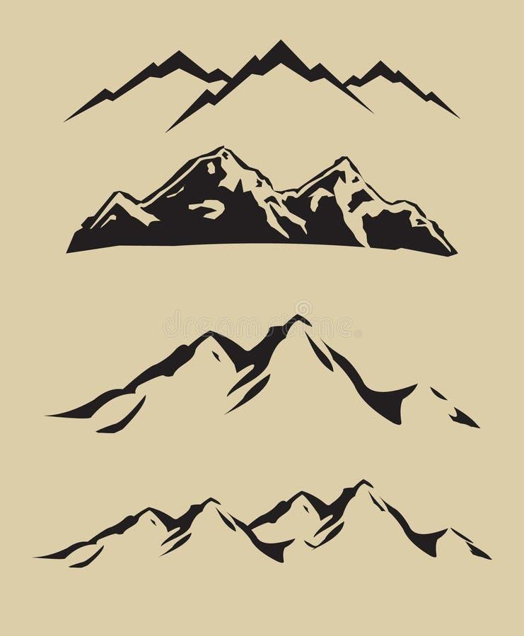 olika berg för 1 färg stock illustrationer