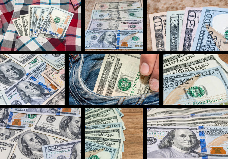 Olika bilder för tema för samling för USA-dollarsedlar, collageuppsättning royaltyfria bilder