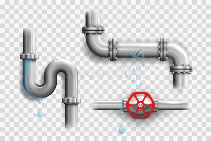 Olika brutna metallrör och läcka rörledningbeståndsdelar stock illustrationer