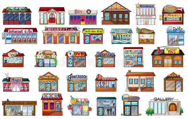 olika byggnader vektor illustrationer