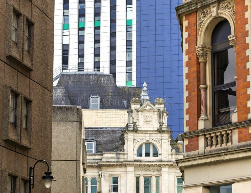 Olika byggnader i staden av Cardiff, Wales, Förenade kungariket arkivbilder