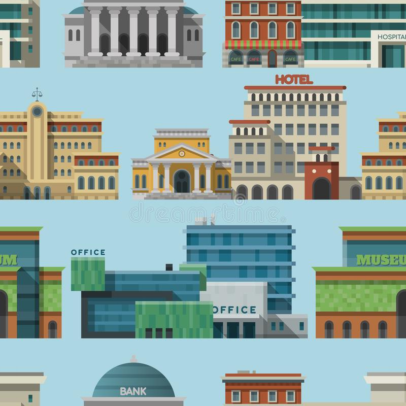 Olika byggnadshotell för för stadfasad för turist och för lägenhet för tid för travalersställesemester den sömlösa stads- vektorn royaltyfri illustrationer