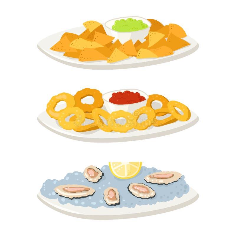 Olika chiper för aptitretare för mellanmål för ostronköttcanape och bankettmellanmål på uppläggningsfatvektorillustration royaltyfri illustrationer