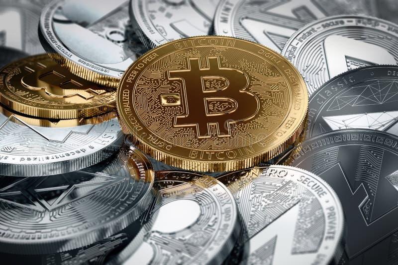 Olika cryptocurrencies och en guld- bitcoin i mitt i närbildskott Olikt cryptocurrenciesbegrepp royaltyfri illustrationer