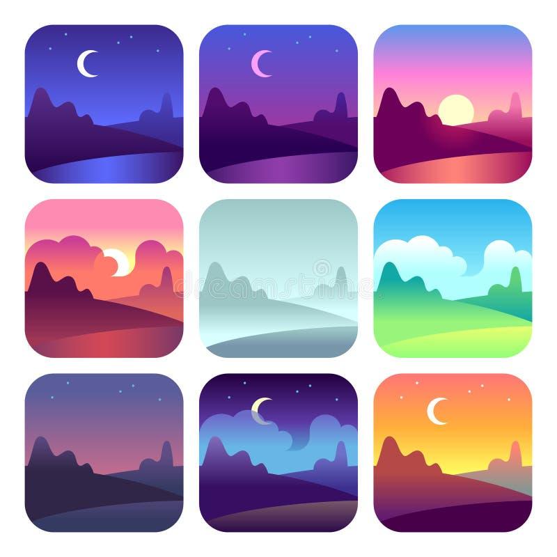 Olika dagtider Ottasoluppgång och solnedgång-, middag- och skymningnatt Symboler för vektor för landskap för soltidbygd vektor illustrationer