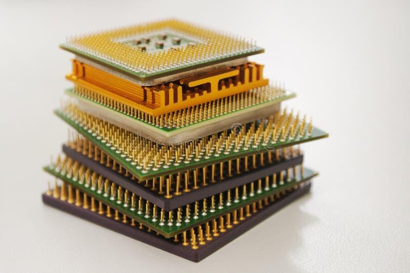 olika datorprocessorer på en vit bakgrund royaltyfria bilder