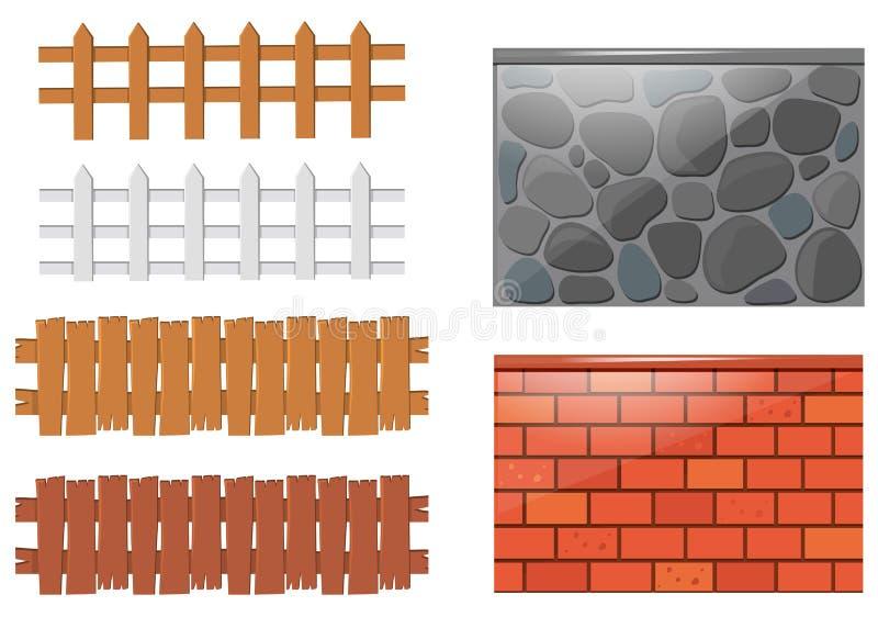 Olika designer av staket och väggar stock illustrationer