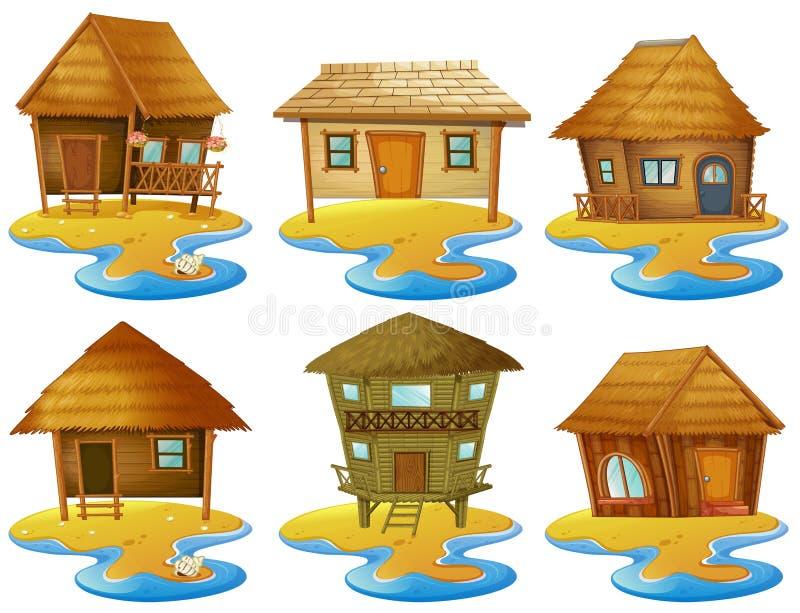 Olika designer av stugan på öar vektor illustrationer