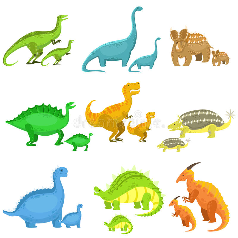 Olika dinosaurier parvis av stort och litet vektor illustrationer
