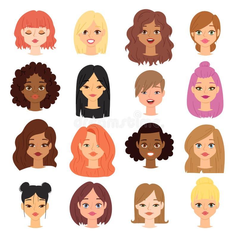 Olika etniska symboler för vektor för framsida för huvud för nationalitetanslutningkvinna stock illustrationer