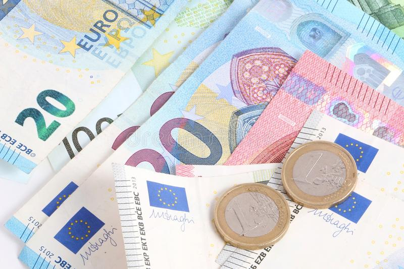 Olika euro i studion arkivbilder