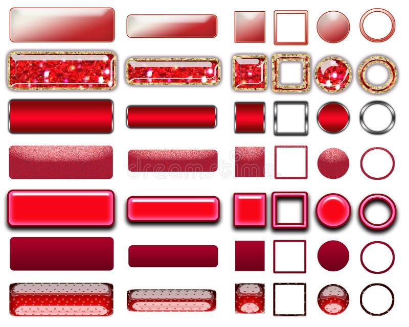 Olika färger av röda knappar och symboler för rengöringsdukdesign arkivbilder