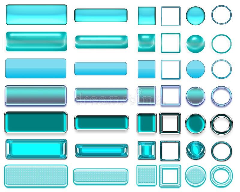 Olika färger av turkosknappar och symboler för rengöringsdukdesign royaltyfria bilder