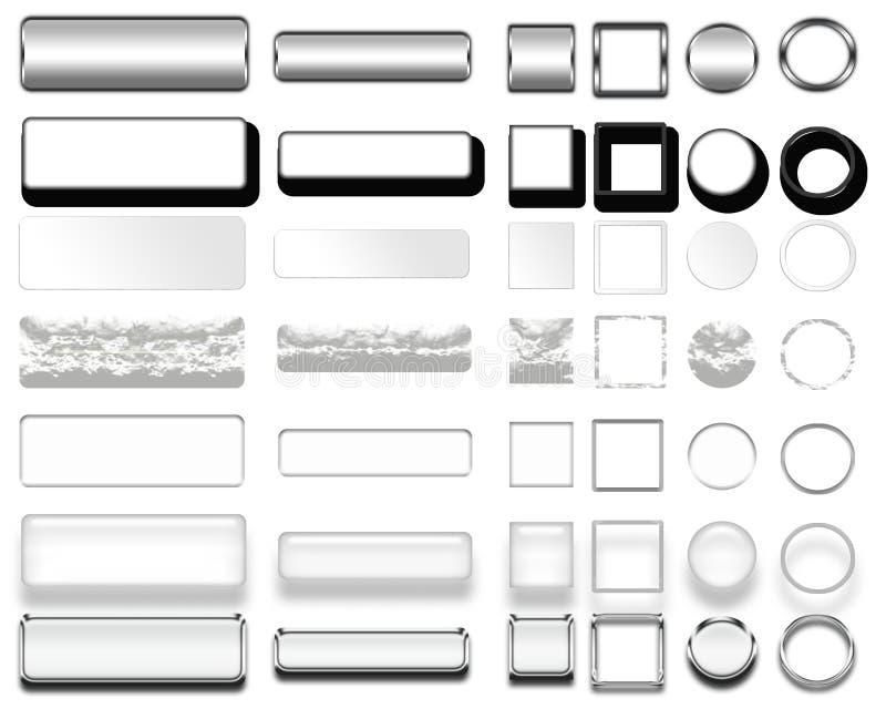 Olika färger av vita knappar och symboler för rengöringsdukdesign royaltyfri foto
