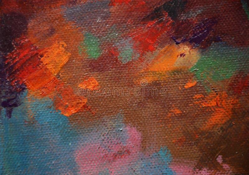 Olika färger på kanfas, rött, orange, brunt och blått, rosa färg royaltyfri foto