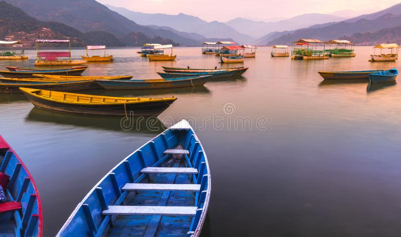Olika färgfartyg i Phewa sjön med solnedgång royaltyfri foto