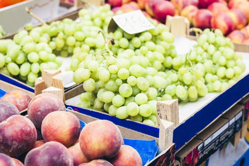 Olika färgrika nya frukter och grönsaker i fruktmarknaden, Catania, Sicilien, Italien royaltyfri foto