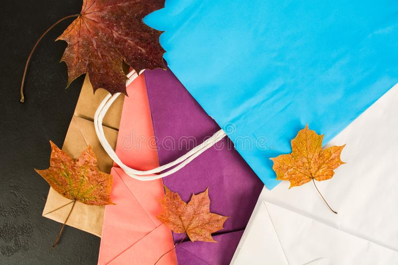 Olika färgrika pappers- påsar för att shoppa med lönnlöv, lekmanna- lägenhet arkivbild