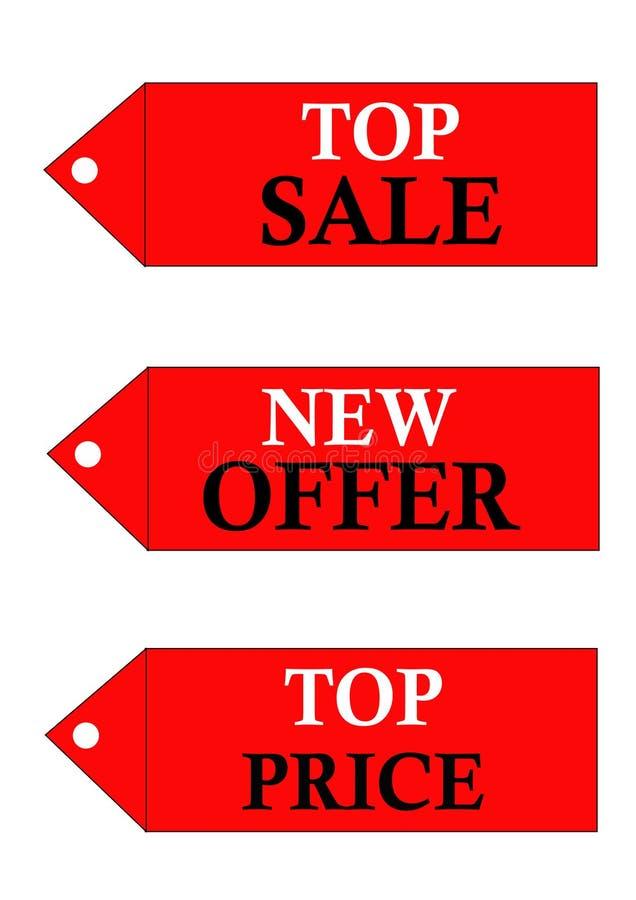 Olika försäljningslogoer stock illustrationer