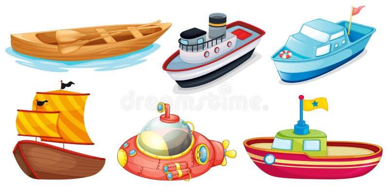 Olika fartygdesigner stock illustrationer
